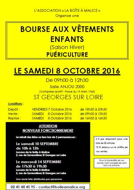 bourse vêtements octobre 2016